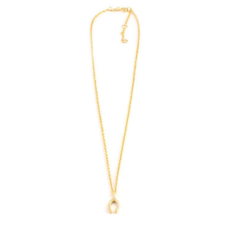 Gargantilla de plata chapada en oro y hueso de la suerte con circonitas. Tamaño aproximado whisboe 1,4cm.Tres medidas para graduar la cadena: 38cm, 40,cm, 43cm aprox.
