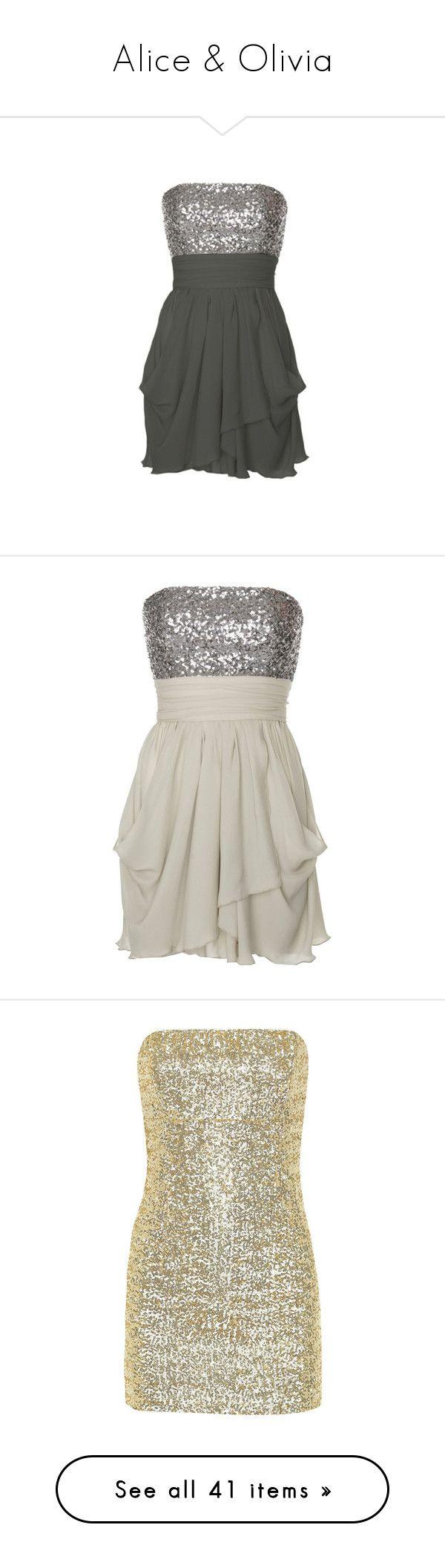 """Alice & Olivia"" by enchantedxox ❤ liked on Polyvore featuring dresses, vestidos, short dresses, vestiti, women, sequin dress, sexy sequin dresses, mini dress, short sequin dress and short strapless cocktail dress"