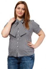 Czarna Klasyczna Koszula w Kratkę z Wiązaną Kokardą pod Szyją