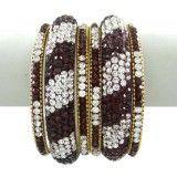 Kundan Bangle Set Jewelry Indian Women Maroon CZ Stone Bangles Jewellry 2*4