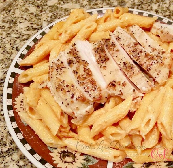"""Tomato Cream Sauce Pasta with Grilled Chicken recipe - one pinner said """"I wanted to take a bath in this sauce. Seriously. You will want to lick your bowl it's so good"""""""