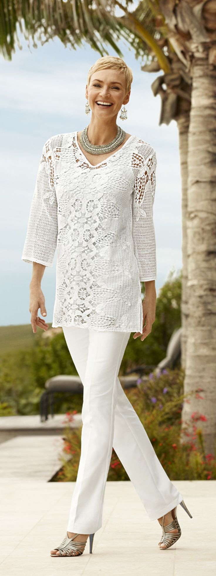 Pair a tunic with slimming pants. You'll look taller and thinner. Chico's Summer 2014