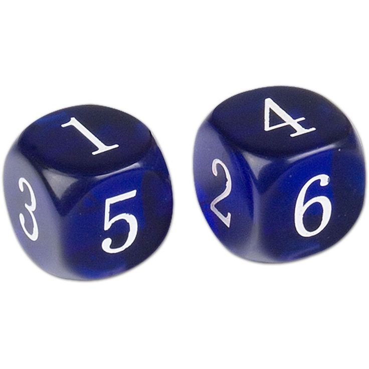 "Six Sided Dice - 4/5"" (20mm) - Blue - Pair"