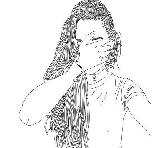 art, noir, dessin, mode, fille, grunge, cheveux, main, crayon, selfie, Tumblr, blanc