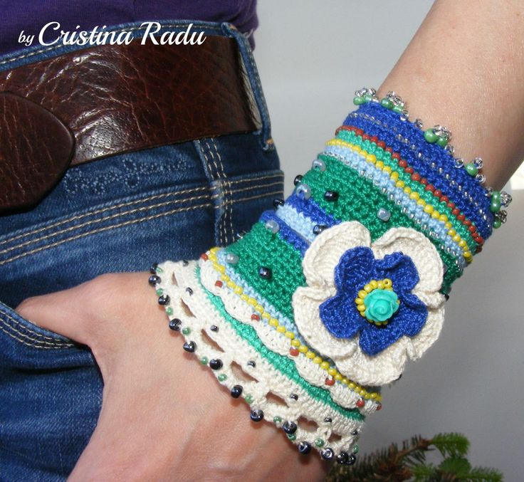 Crochet bracelet boho chic, statement boho cuff crocheted, ooak ethno chic wristband, green and blue crochet bracelet, cotton bracelet - pinned by pin4etsy.com