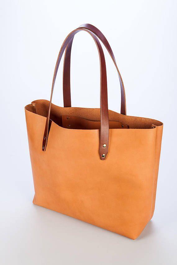 Leather tote tas plantaardig gelooid lederen handtas binnen