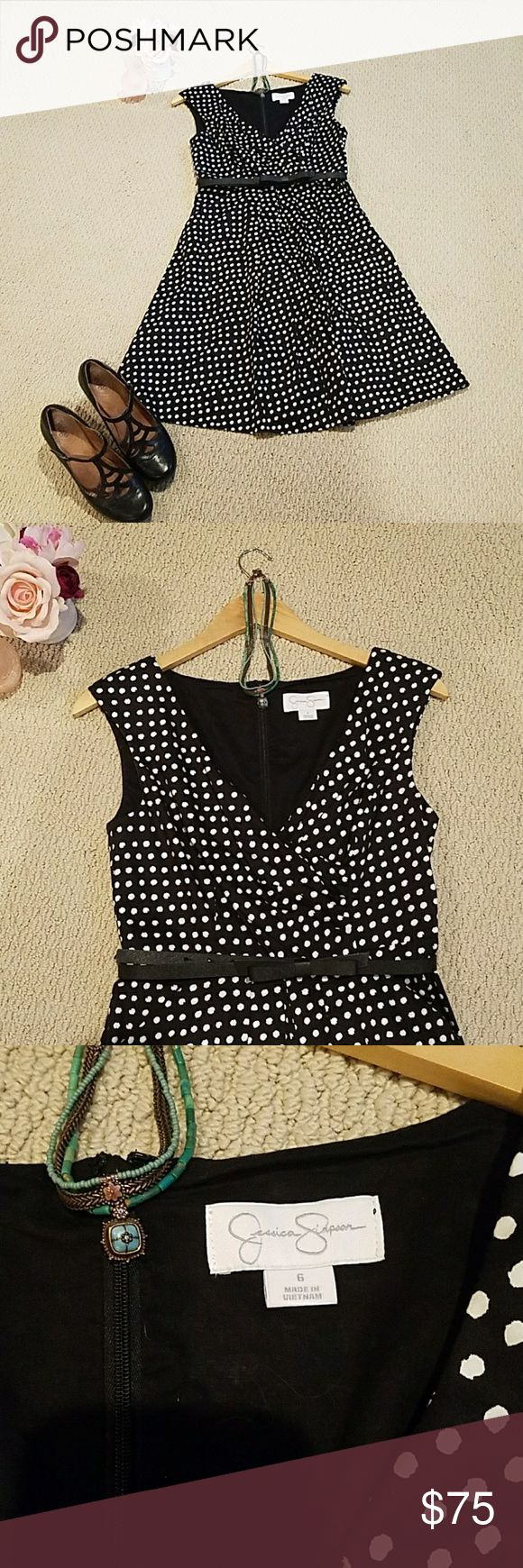 """Jessica Simpson Dress Lovely, ladylike A-line polka dot dress with pockets. So on trend! Size 6. Back zip. Length 37"""" from shoulder to hem. Waist 28"""" Bust 31"""". Excellent condition. Worn only a couple times. Original belt did not match the quality of the dress, so I used others. 💋all accessories are excluded, for styling only💋Dress up with heels, down with flats. You will love it! Jessica Simpson Dresses"""