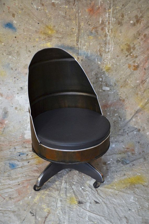 Industrial Office Chair Barrel Style with vintage base.