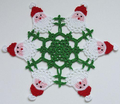 Santa Doily: Santa Doilies, Christmas Crochet, Crochet Knits Yarns, Crochet Christmas, Christmas Doilies, Happy Santa, Crochet Doilies, Crochet Santa, Christmas Projects