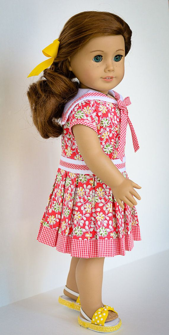 Sweet Summer Historical or Contemporary by AnnasGirls on Etsy. Made with the LJC Cosplay Day Dress pattern, found at http://www.pixiefaire.com/products/cosplay-day-dress-18-doll-clothes. #pixiefaire #libertyjane #cosplaydaydress