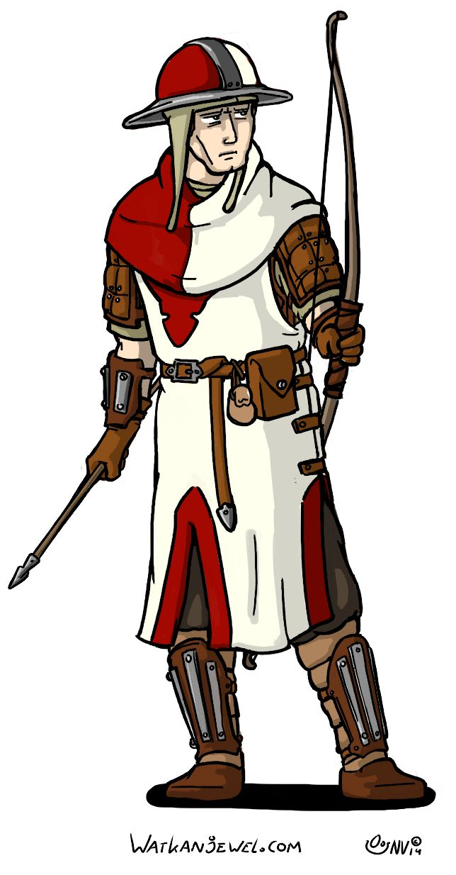 Light fighter/archer for a larp group; Enfants Lumières. light armored foot soldier with kettle helmet and leather armor