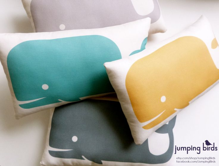 Whale Pillow/ Light Gray/ Whale Cushion/ Decor/ by JumpingBirds, $25.00