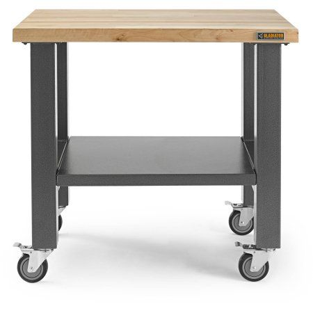 Gladiator 36 in. W Mobile Workbench in Hammered Granite with Hardwood Top