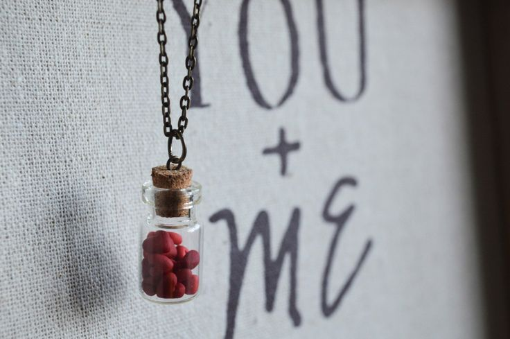 Bottle full of hearts necklace - handmade gift - available at https://www.etsy.com/ca/listing/479186371/bottle-full-of-hearts-handmade-necklace