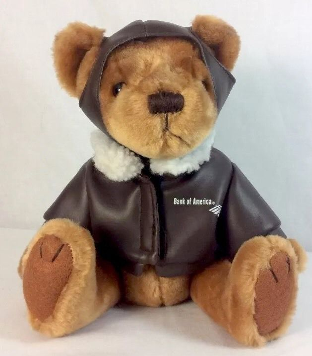 A nice sized Teddy Bear plush toy. Made for the Flight Fund of America West Airlines and underwritten by Bank Of America. Flight Fund was America West Airlines frequent flyer program. The airline merged in 2005. | eBay!