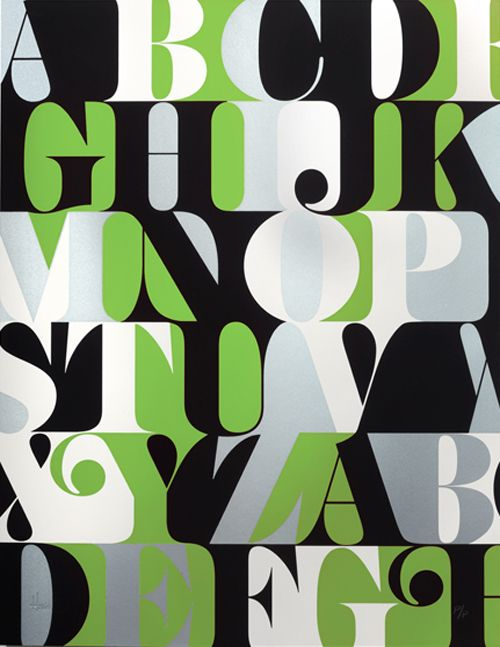 """Green Caslon Alphabet Print from House Industries.  Hand printed serigraph on acid-free paper;  20x26"""". Featuring Benguiat Caslon from Photo-Lettering. Original alphabet by Ed Benguiat, digitized by Christian Schwartz."""