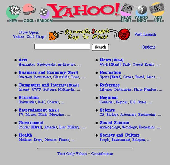So you try looking on Yahoo. Ugh...what is all this random stuff?   What It Was Like Trying To Find Something On The Internet In The '90s