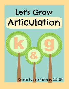 Speech Activities for Articulation: /k/ and /g/.  Visit pinterest.com/arktherapeutic for more #speechtherapy games and activity ideas