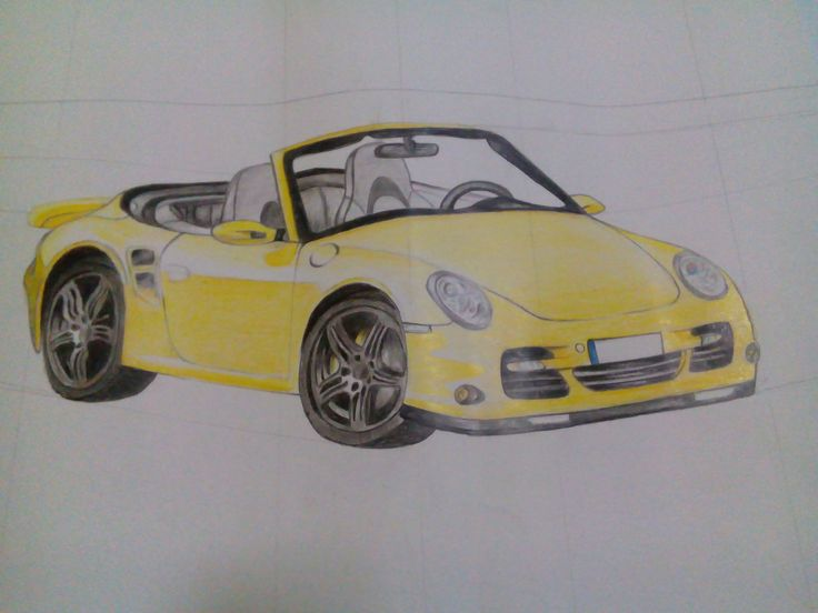 yellow car, pencil color