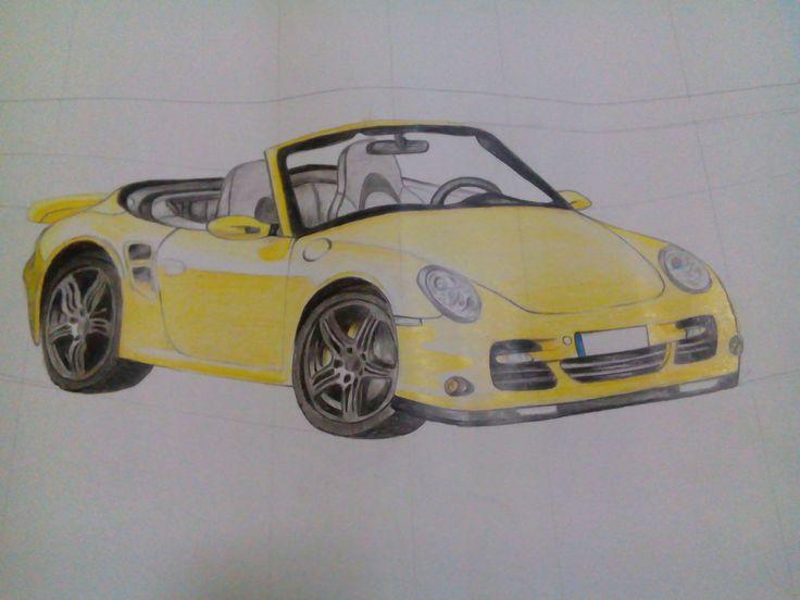 yellow car, pencil color