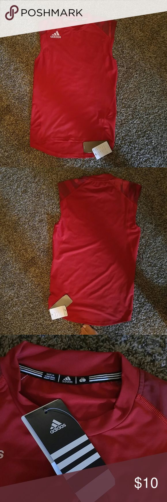 NWT Adidas workout shirt Sleeveless, red workout shirt. Fits both youth large or adult small. Adidas Tops Muscle Tees