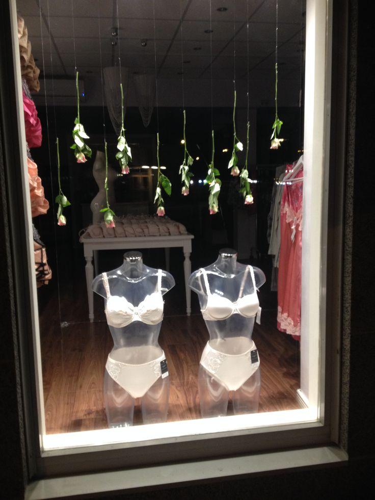 lingerie window display, roses, spring, Felina underwear, Putiikki Bra