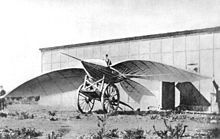 Le Bris and his glider, Albatros II, photographed by Nadar, 1868