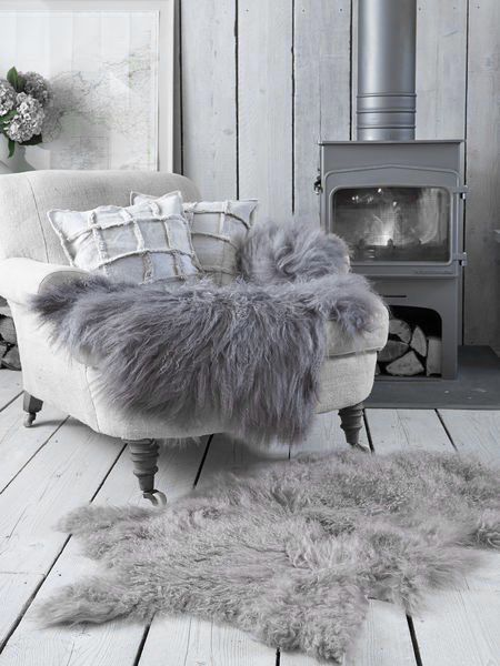 ♅ Dove Gray Home Decor ♅  cozy grey chair by the fire