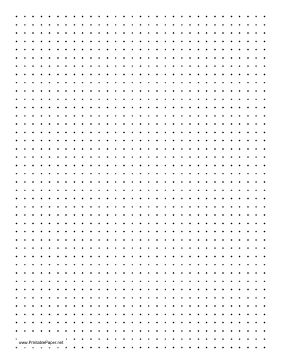 This printable dot paper has four dots per inch and is in portrait (vertical) orientation on letter-sized paper. Free to download and print