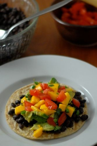 Tostadas, Mango salsa and Black beans on Pinterest