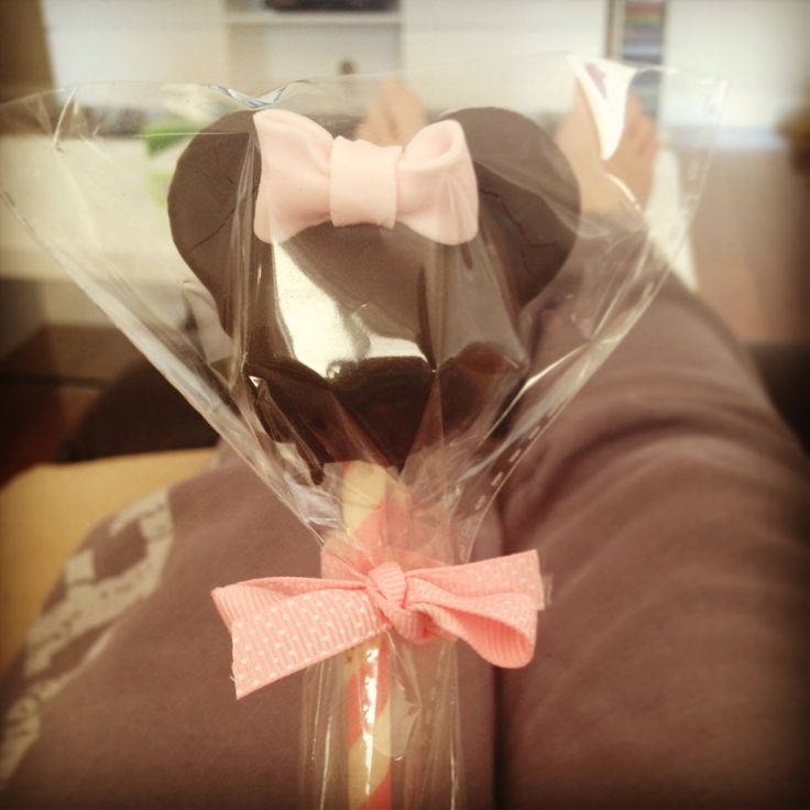 Minnie Mouse cake pop's I made for my daughters first birthday. Choc mud with mini Oreo ears.
