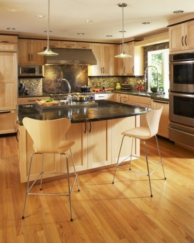 22 Best Grey Hardwood Floors With Maple Cabinets: Maple Cabinets With Gray Brick & Black Top Accent. The