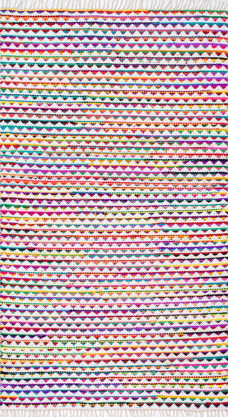 Calypso KY01 Rainbow Striped Triangles Mosaic Rug