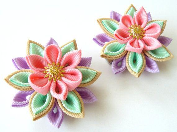Kanzashi  Fabric Flowers. Set of 2 hair clips. Pink mint by JuLVa, $13.50