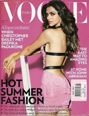 Vogue India,Deepika Padukone,John Abraham,how to amazing eyes,March 2011~NEW