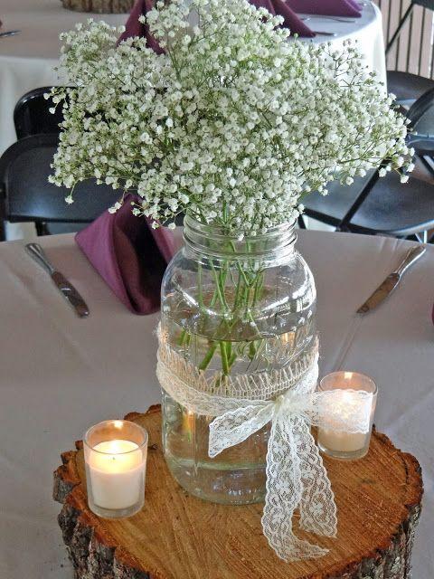 Baby's breath in Mason jar rustic centerpiece. Greg + Rita's May Wedding: Lace and Burlap | Lenora's Legacy Estate www.lenoraslegacy.com