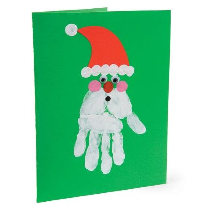Handprint Santa-Red craft paper, glue stick, plain notecard or card stock, tempera paints, paper plates, googly eyes.   Cut Santa-hat shapes fro the craft paper, glue on card. Glue eyes at fingertips width below each hat. Pour white tempera paint onto paper plate, on different plates pour black and red paint. Stamp white handprint beards, then use fingertips to trim out hat, nose, mouth and cheeks on each face.