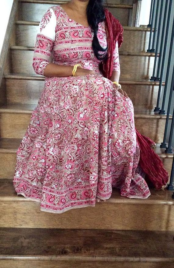 Jaipur Block print Cotton Anokhi style anarkali by Tribhangi
