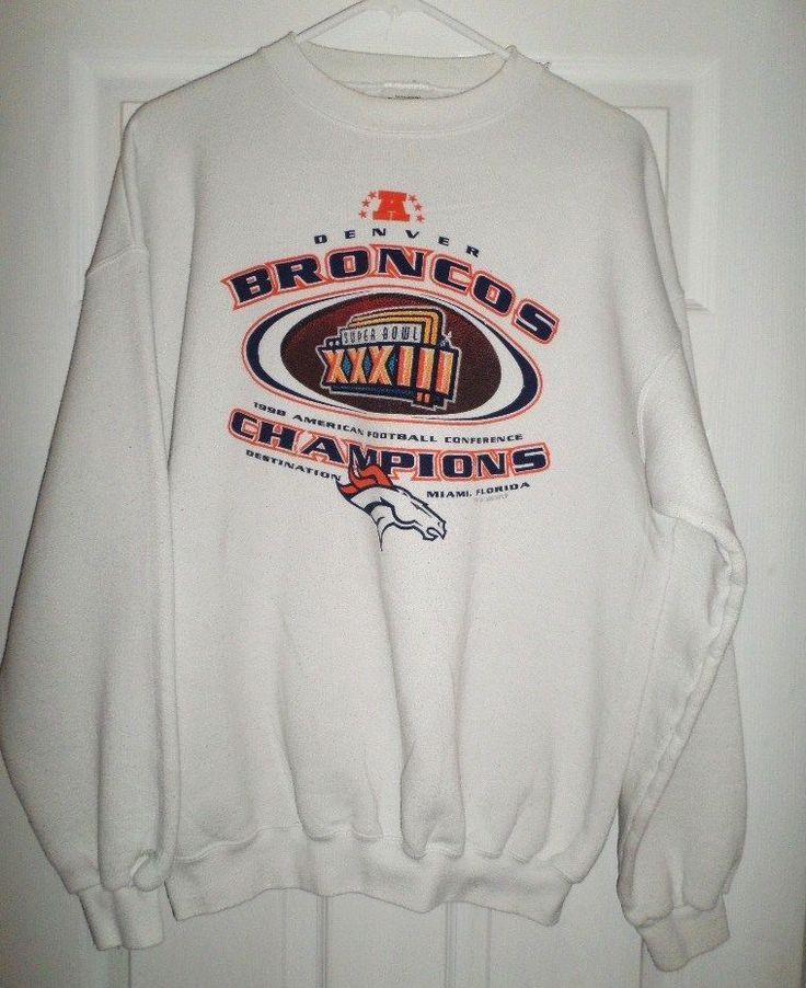 Men's Vintage DENVER BRONCOS SUPER BOWL XXXIII NFL Sweatshirt Shirt, Size L, GUC #TULTEX #DenverBroncos