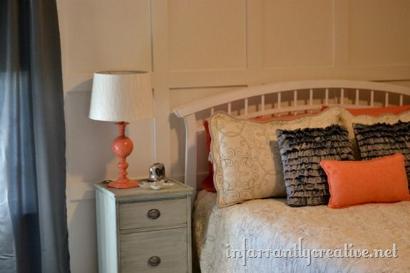Guest room- pillows, sprayed lamp with new lamp shade, headboard, night table