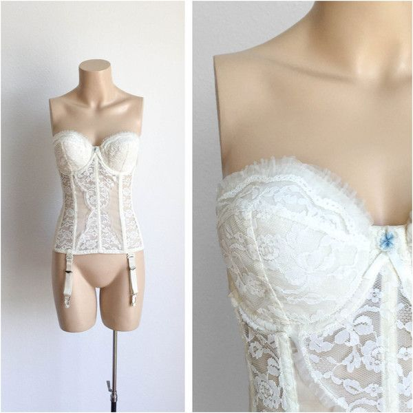 50s White Lace Bustier 1950s Sexy Strapless Corset Bra Garter Belt... ($56) ❤ liked on Polyvore featuring intimates, white bustier, lingerie corset, lace lingerie, sexy lace lingerie and white lace lingerie