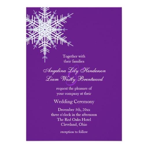 A Winter Wedding Invitation in Purple