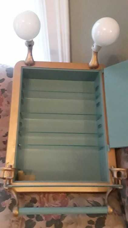antique metal medicine cabinet with beveled glass mirror 2c cup rh pinterest com