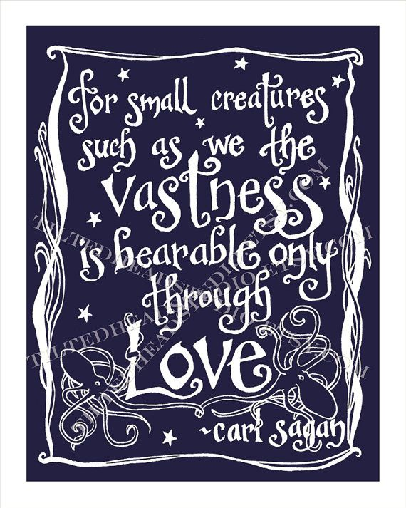 """For small creatures such as we the vastness is bearable only through love."" – Carl Sagan. A poignant quote about the immensity, power, and"