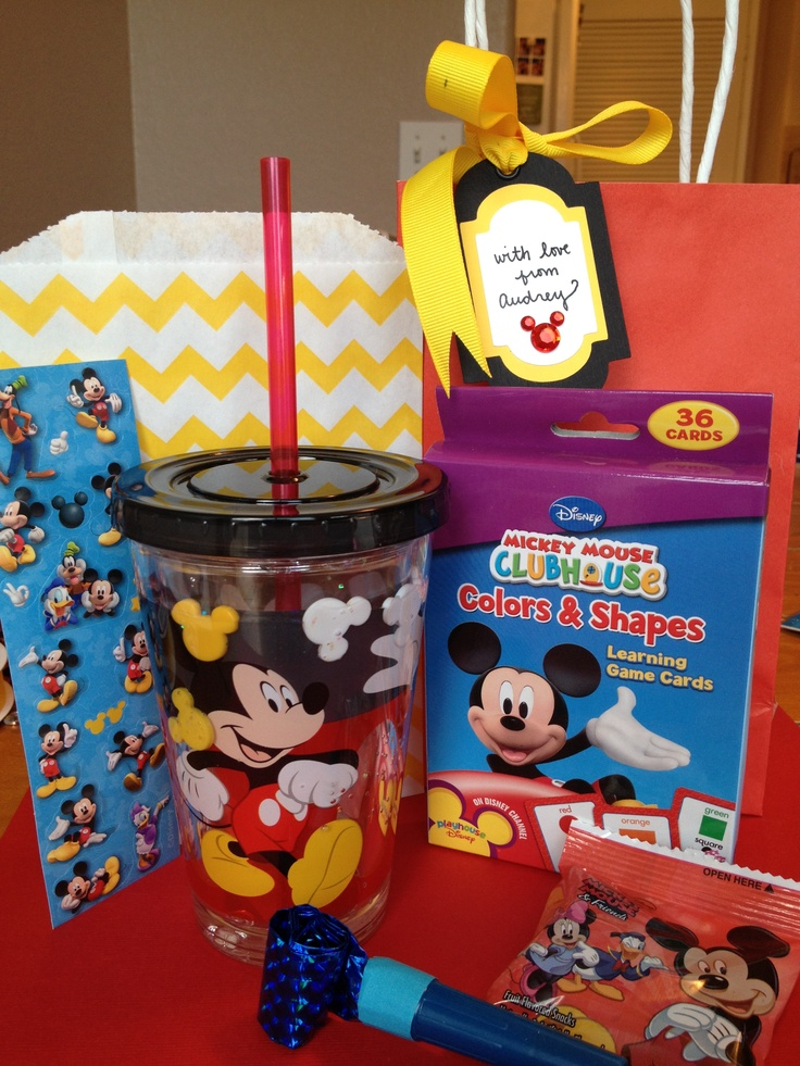mickey mouse toddler party favor idea  sippy cup  stickers