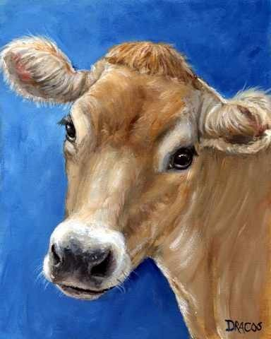 Jersey Cow Farm Animal Art 8x10 Print by Dottie Dracos Jersey on Blue | LarkStudios - Print on ArtFire
