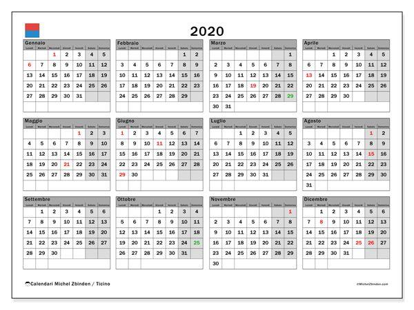 Calendario Cantone Ticino 2020 Da Stampare Calendario Calendario Stampabile Gratis Calendario Stampabile