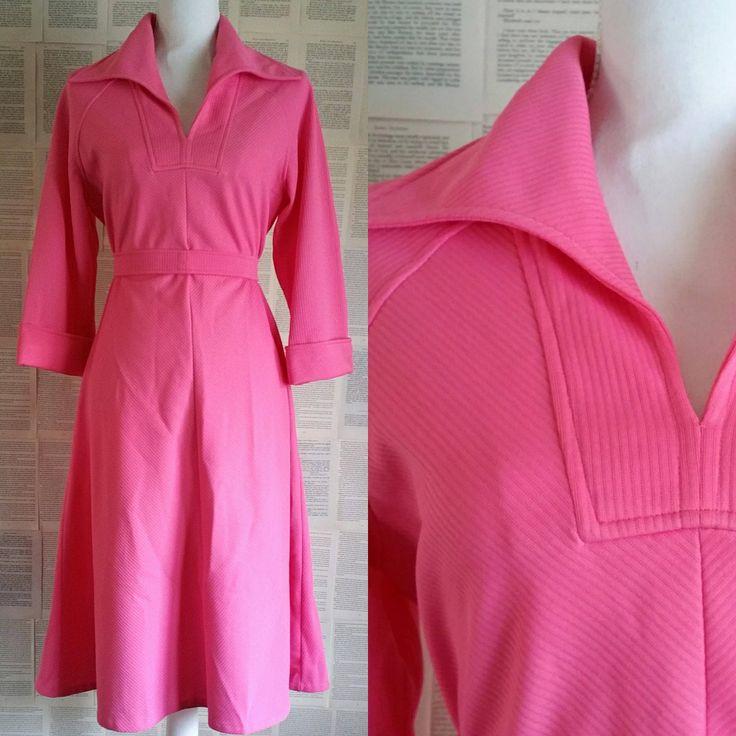 Pink Vintage Dress 1960s - 1970s Size 12-14 by MyVintageSundays on Etsy