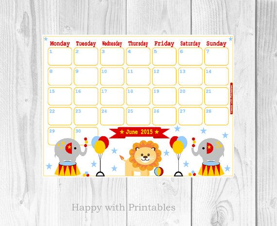 Happy With Printables Calendar November : Calendar june printable cute planner by