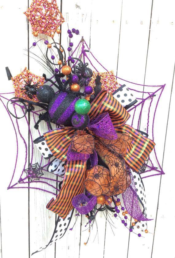 Spider Web wreath, Halloween Wreath, Halloween Spider Wreath, Fun spider web…